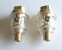 2 Brass Automatic Air Line Oilers For Air Tools