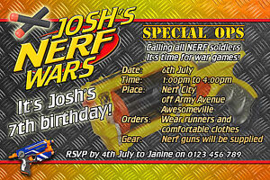 Nerf wars nerf army birthday party invite invitation on disc you image is loading nerf wars nerf army birthday party invite invitation stopboris Images