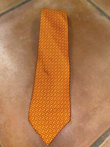 EUC-Hermes-Paris-Tie-Orange-100-Silk-Chain-Link-Men-039-s-FRANCE-Necktie-60-3-5