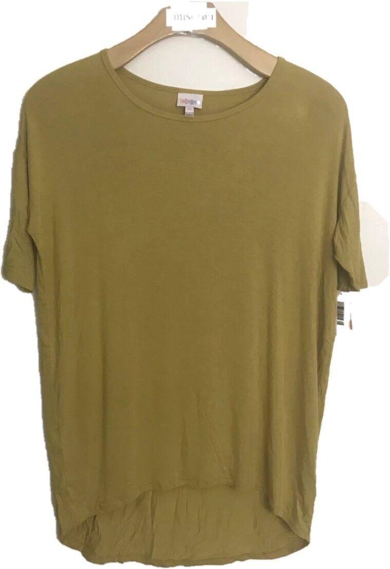 Lularoe Irma Women Size XS Super Stretchy Soft Shirt Top Yellow Asymmetrical Hem