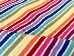 7b7d5e7fc63 Image is loading Multi-Striped-White-Rainbow-Jersey-Knit-Elastane-4W-