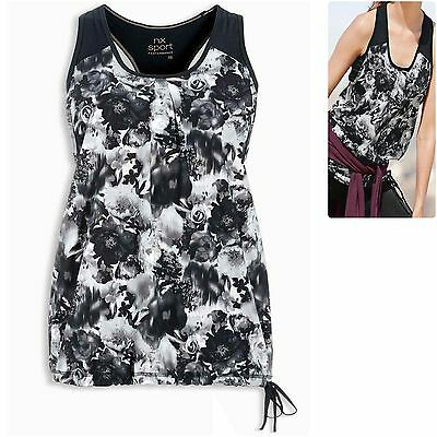 Next sz 8 Inner Bra Support Performance Layer Sports Vest Top Floral Black White