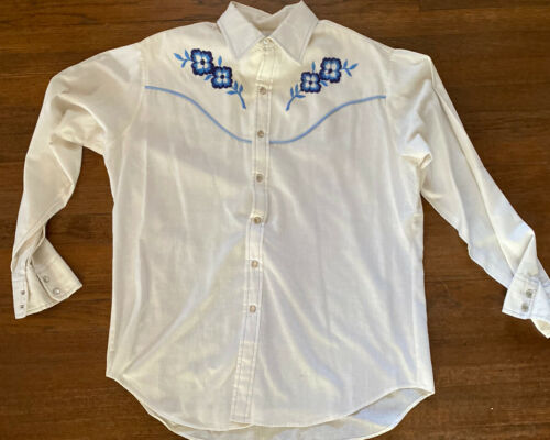 Mens Vintage Size Large Pearl Snap Embroidered Wes