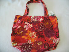 CUTE Bungalow 360 Red Floral Girl Print Small Reversible Tote Bag NEW! 12.5 x 11