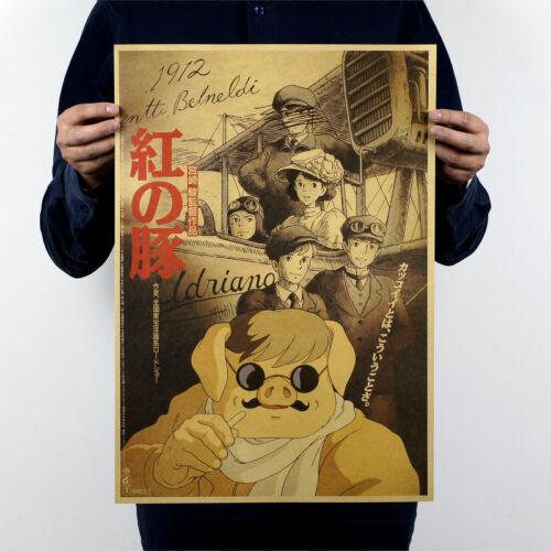Japan Anime Comic Hayao Miyazaki Poster Vintage Wall decor Kids Gift Collect 17