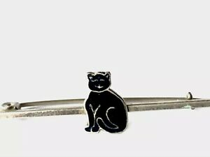 Vintage-Silver-Tone-Lucky-Black-Enamel-Cat-Bar-Brooch-Pin-GIFT-BOXED