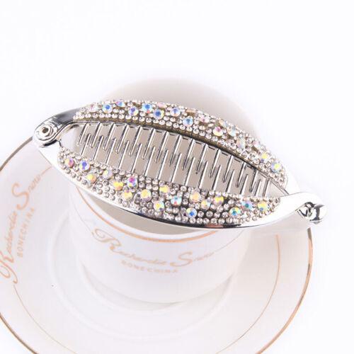 Crystal Rhinestone Hairpins Fish Shape Hair Claw Clips Jewelry Banana Barrettes