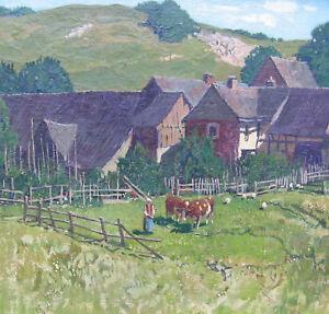 Strahn-Jo-1904-1997-DUREN-Landschaft-in-Nettersheim-in-der-EIFEL-Kuehe-Kloster