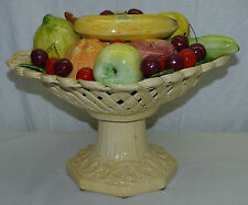 "Vintage Italy Bassano Hand Made 11"" Pottery Centerpiece Fruit Basket Footed Bowl"