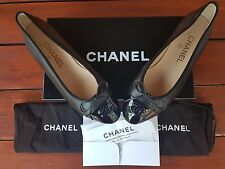 CHANEL BLACK PATENT 15C LEATHER CLASSIC BALLERINES SIZE 4UK BRAND NEW WITH BOX !