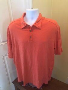 Tommy-Bahama-Mens-Polo-Shirt-Size-XL-Coral-Orange-2XL-Pima-Cotton-Short-Sleeve