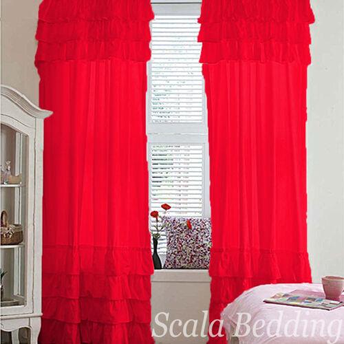 panel Set Semi Ruffle Door /& Window Curtains Top Rod Pocket All size /& colors 2