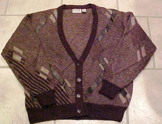 Vintage Retro  Herren Mans 1980s Ugly Sweater Geometric Cardigan LEATHER Strips M