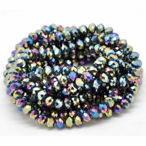 1 STRAND MULTI COLOUR AB CRYSTAL FACETED BEADS~RONDELLE~8mm~APPROX 72 BEADS 26A