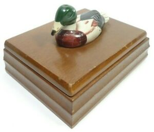 VINTAGE 1981 PRICE PRODUCTS WOODEN PLAYING CARD BOX HINGED LID DUCK FINIAL
