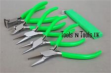 "GREEN 4-1/2"" PLIERS & KNOTTING TOOL 6 PCS SET/ KIT JEWELLERY WIRE BEADS IN POUCH"