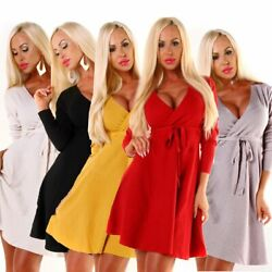 4696 Sexy Damen Feinstrick Kleid Langarm Strickkleid Minikleid Wickeloptik