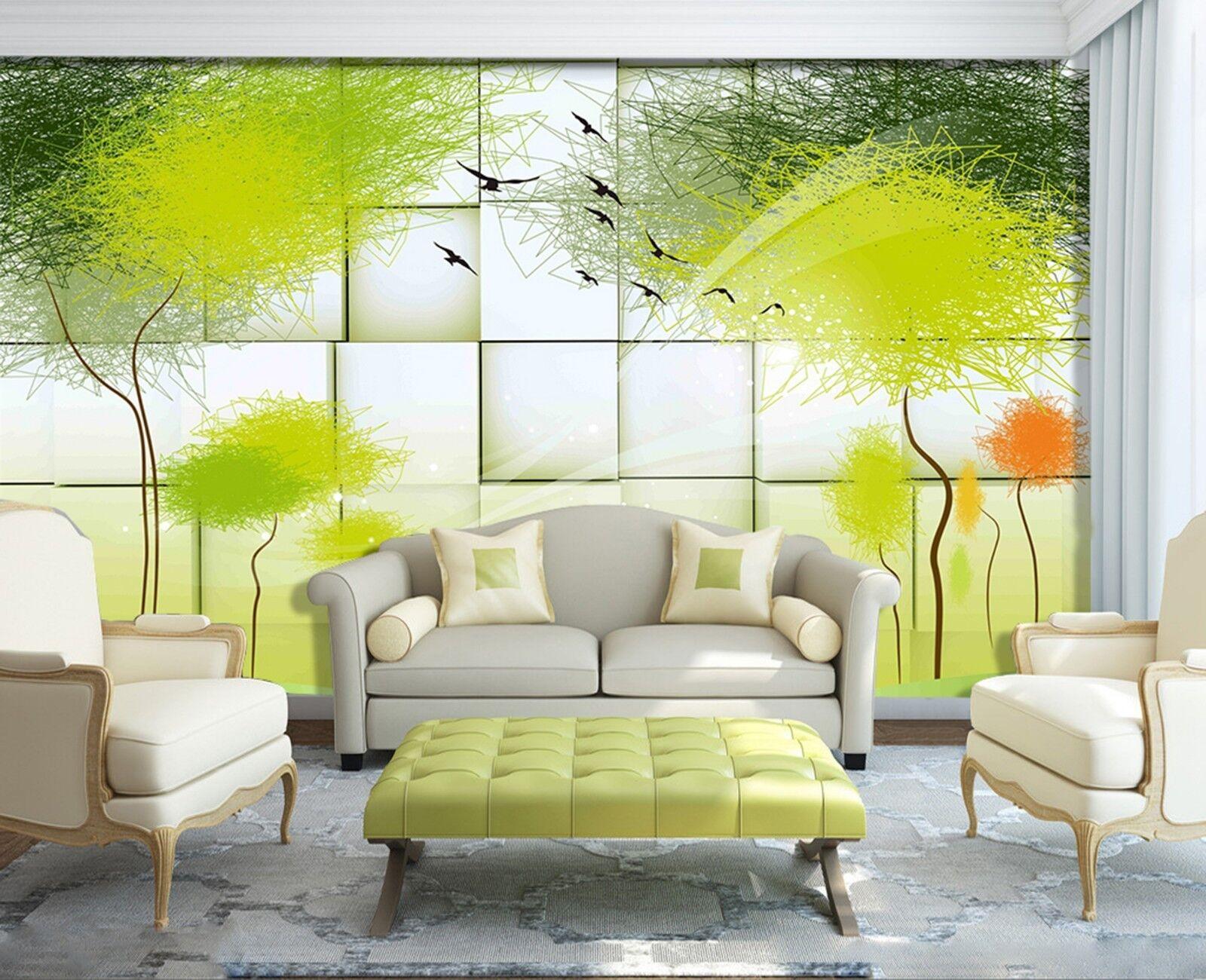 3D Cartoon graffiti tree Wall Paper Print Decal Wall Deco Indoor wall Mural