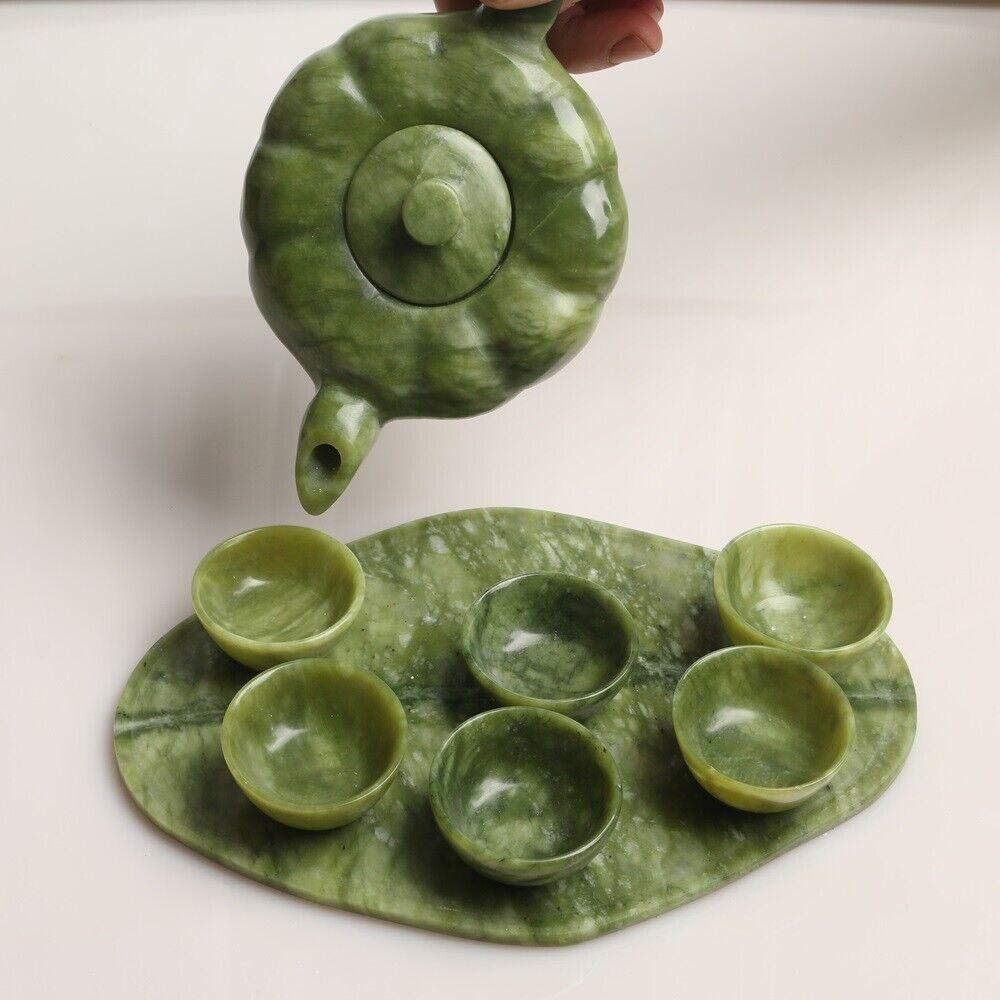 tea set China hand carved natural jade teapot teapot Six cups kung fu tea
