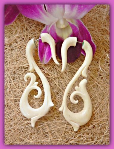 Fake Ear Gauge Horn Bone Black Split Hook Carved Buffalo Earrings Cheater Plug