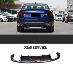 Rear-Diffuser-Lip-Quad-Exhaust-For-Audi-A4-Sline-Carbon-Fiber-17-18-K-Style