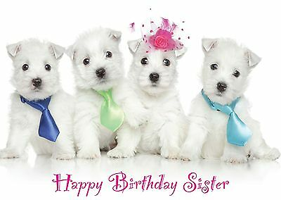 """Birthday Card """"Party Pups"""" Westie Dog Puppy - Mum Sister Daughter Granddaughter"""