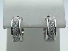 New Sterling Silver Diamond Dust 14 mm Huggie Round Hoop Loop Earrings 2.6 grams