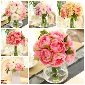 10-Head-Silk-Artificial-Peony-Flowers-Hydrangea-Fake-Leaf-Wedding-Bridal-Party