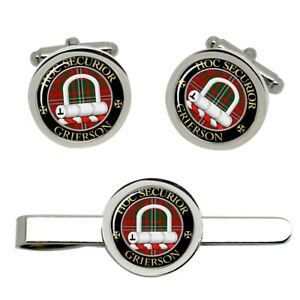 Grierson-Scottish-Clan-Cufflinks-and-Tie-Clip-Set