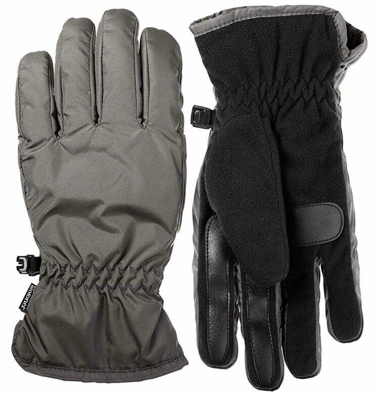 Men Winter Gloves Isotoner Everyday Grey Black USA Size XL Touchscreen