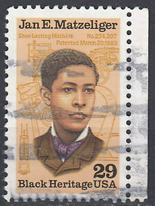 USA-Briefmarke-gestempelt-29c-Jan-E-Matzeliger-Black-Heritage-Rand-re-2166