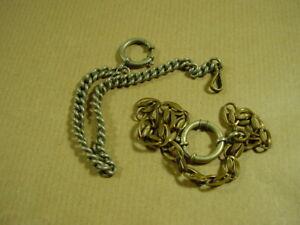 2-alte-Uhrenketten-davon-eine-nicht-komplett-Kette-fuer-Taschenuhr-usw