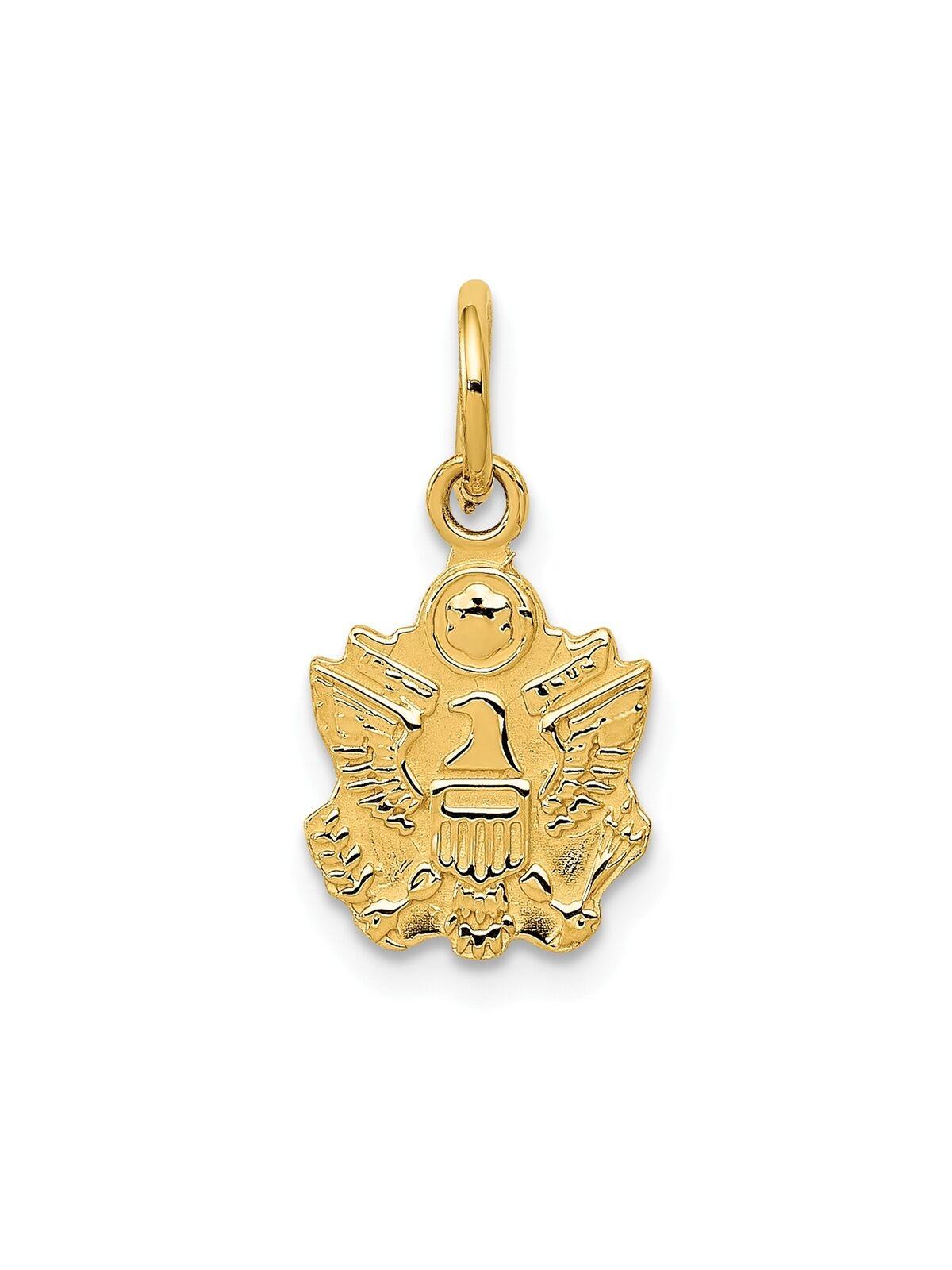 14k Yellow gold U.S. Army Insignia Charm Pendant - 9x16.5mm 0.73 Grams