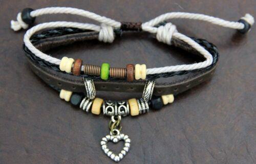 Fashion Leather Adjustable Charmed//Beaded Bracelet Friendship bracelet Gift