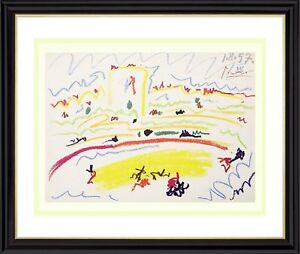 PABLO-PICASSO-HAND-SIGNED-LITHOGRAPH-BULLFIGHT-ARENA-IV-FRAMED-AND-MATTED