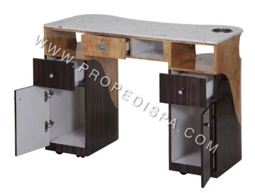 Marble Top Manicure Nail Table w/ drawer for UV gel dryer Spa Pedicure Chair