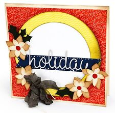 Sizzix Holly & Poinsettia Wreath with Banner Bigz L die #659997 Retail $29.99
