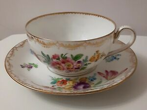 Antique-19th-Century-Richard-Klemm-Dresden-Porcelain-Cup-amp-Saucer