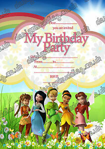 Image Is Loading Disney Fairies Tinker Bell Birthday Party Invitations Girls