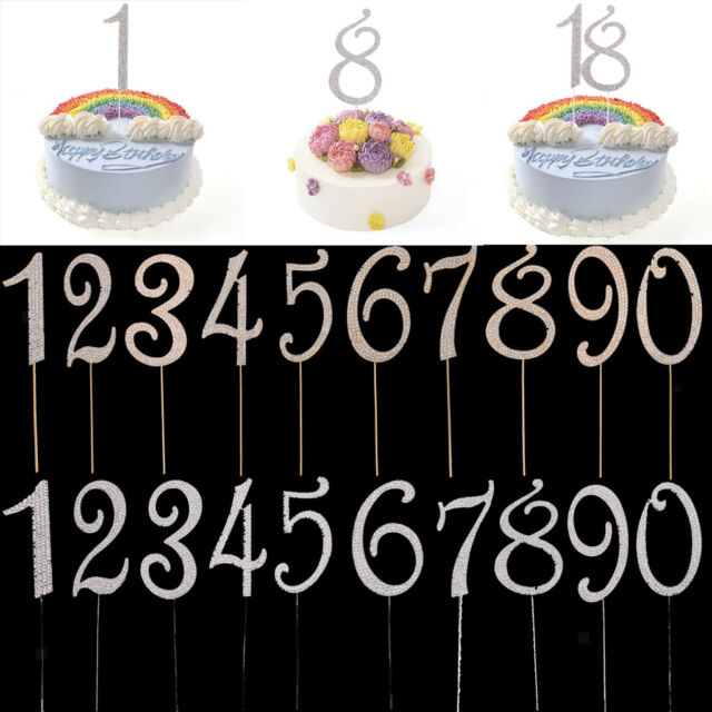 10-100 Number Cake Topper Crystal Diamonte Rhinestone Bling Birthday Anniversary