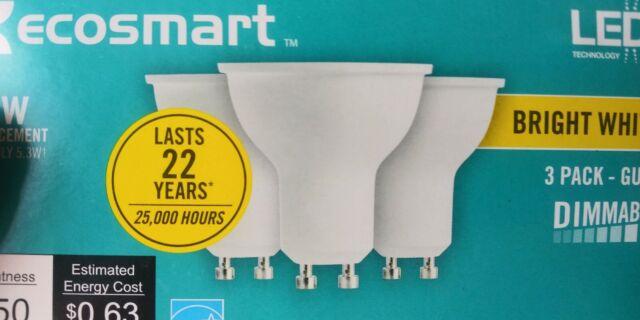 9 bulbs Ecosmart 50W Bright White Dimmable LED Light Bulb 3PK GU10 3 boxes