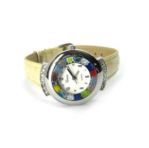 Murano-Uhr-Damen-Armbanduhr-creme-Murano-Glass-Strass-Damenuhr-Armband-Leder