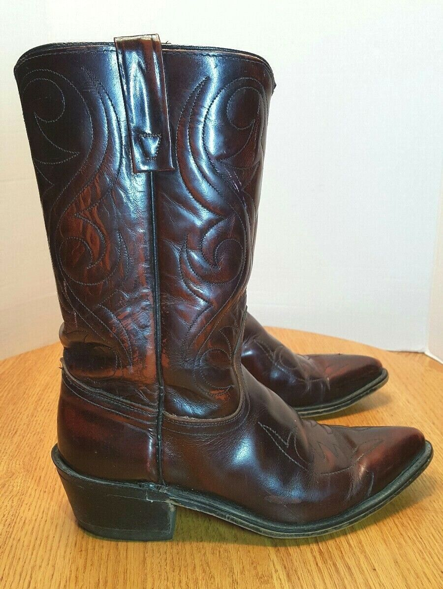 ACME 4939 Maroon Brown Leather Western Boots USA Cowboy Mens US 7.5 D Rodeo