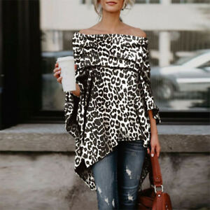 ba17daee97631 Women Off Shoulder Sexy Leopard Print Asymmetric T-Shirt Long Sleeve ...