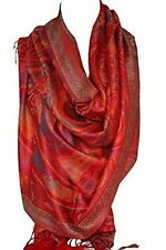 Red Paisley Ethnic Print Pashmina Feel Wrap Shawl Scarf Scarves Hijab