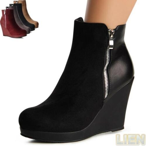Damenschuhe Plateau Keil Stiefeletten Boots Ankle Boots Booties Stiefel Hidden W