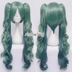 VOCALOID-MIKU-Cosplay-Peruecke-Haarteile-Anime-65cm-Locken-gruen-Gothic-Perruque