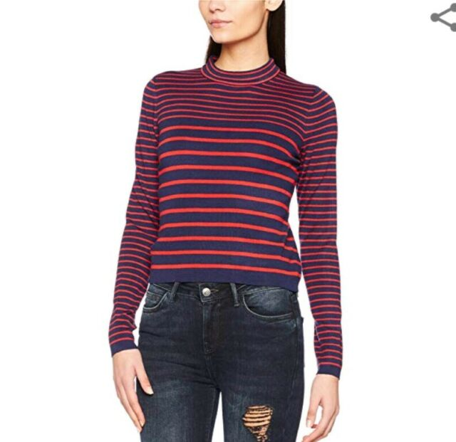 Ladies New Look  Size 10 Red And Navy Horizontal Striped Jumper NEW WITH TAG