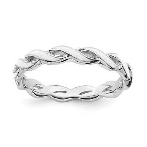 925-Sterling-Silver-Rhodium-Plated-White-Enamel-Twisted-Stackable-Ring-Sz-5-10
