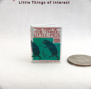 Dollhouse Readable Illustrated Book Three Tiny Pigs 1:12 Scale Miniatures
